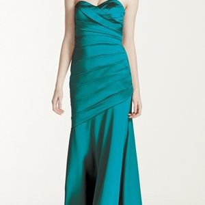 David's Bridal Long Stretch Satin Dress
